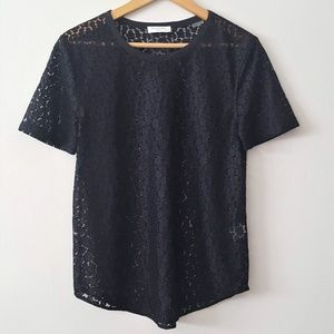 EQUIPMENT Riley Black Lace Short Sleeve Top XS